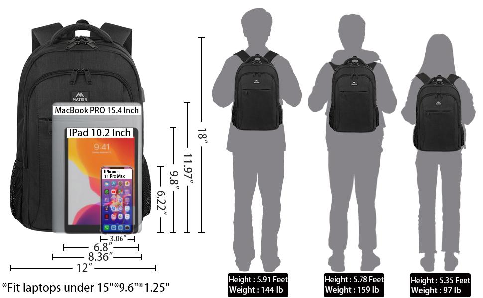mochila hombre matein mochila portatil trabajo mochila escolar adolescente 15.6 pulgadas negra