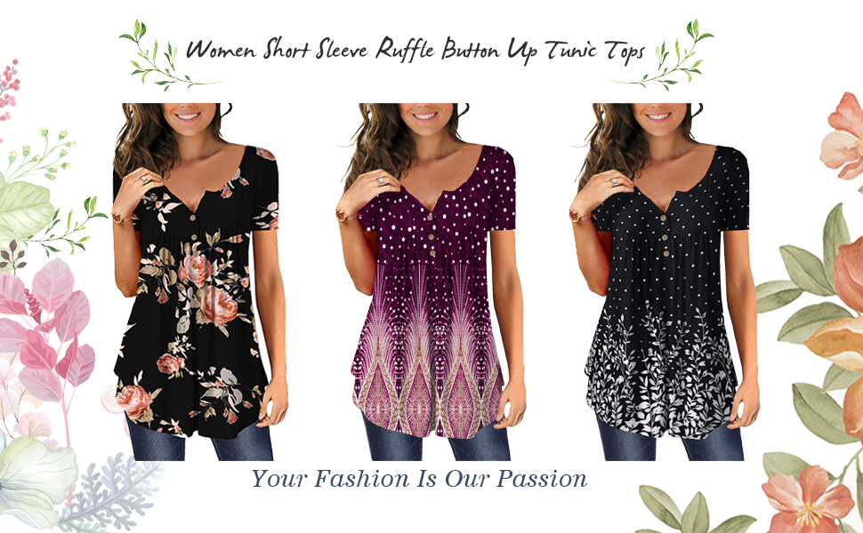 women short sleeve button up tops