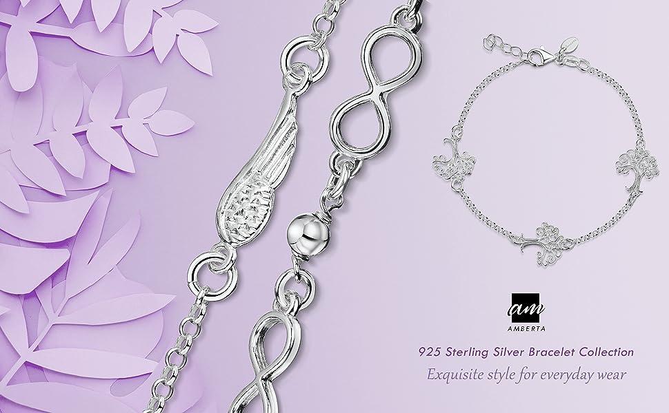 Amberta 925 Sterling Silver - Bracelet for Women - Adjustable Rolo Belcher Bracelet Chain