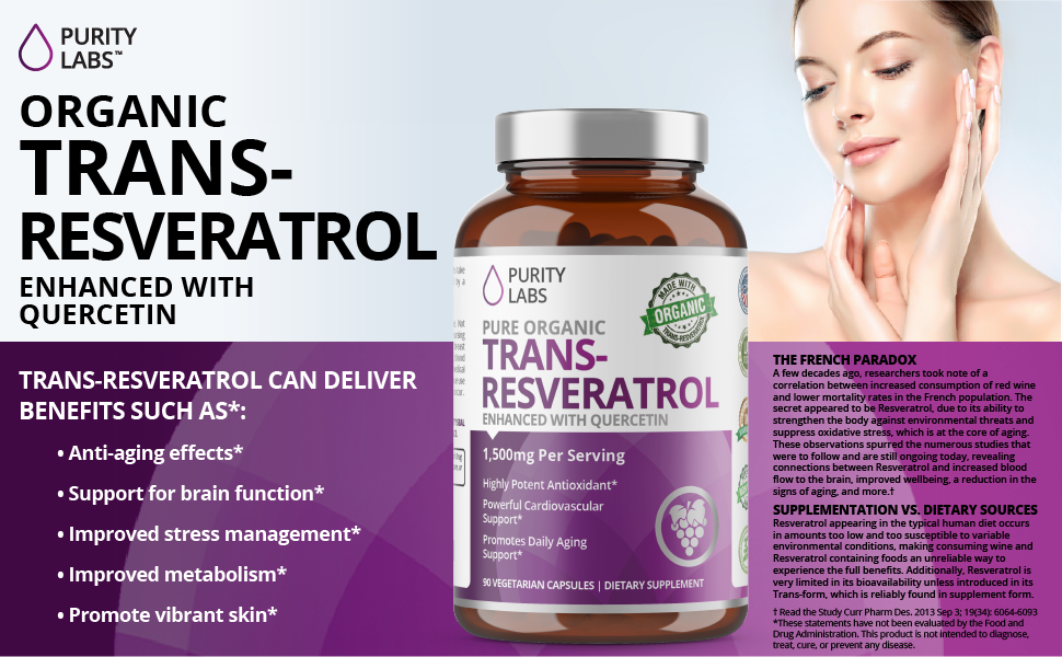 Amazon Com Organic Trans Resveratrol 1 500mg Enhanced With Quercetin Highest Quality And Potency Available Powerful Antioxidant For Heart Anti Aging And Radiant Looking Hair Skin And Nails 90 Vegan Pills Health Personal