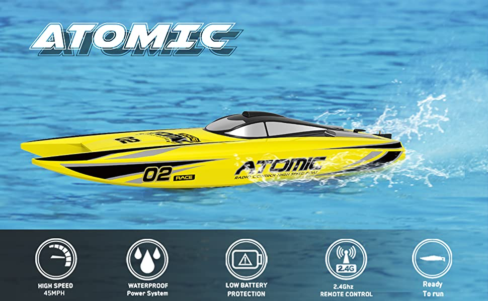 High Speed Racing Remote Control Boat ATOMIC: Easy to control, good for beginners, kids, adults