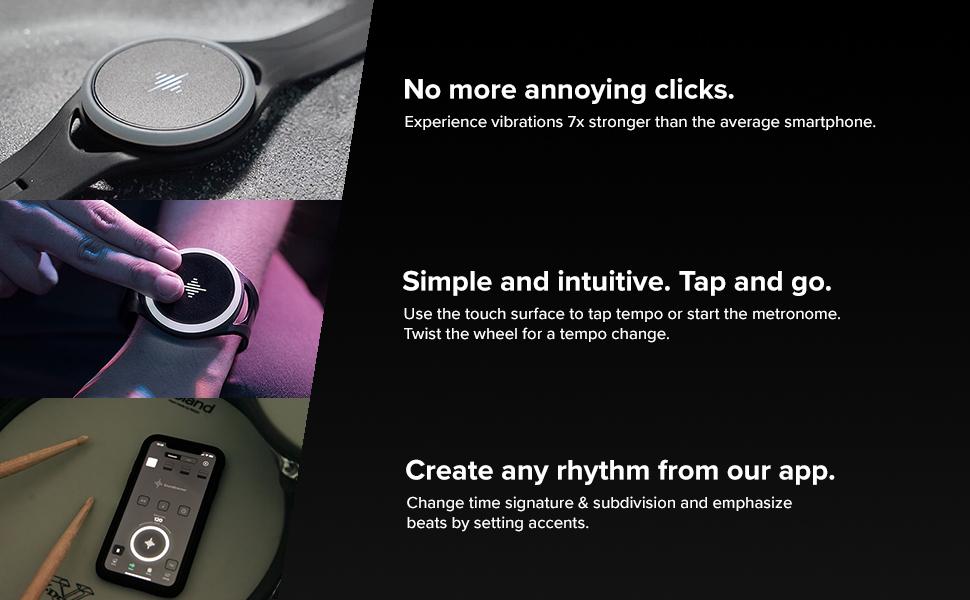 Metronome, vibrating metronome, vibration metronome, rhythm, tap, clicks, Soundbrenner Pulse, beat