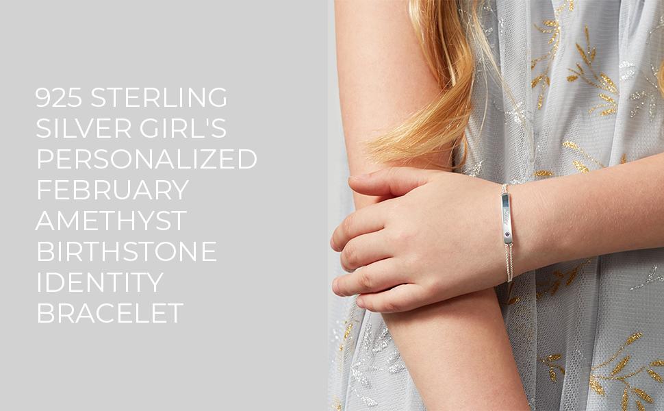 Girls Personalised February Amethyst Birthstone Identity Bracelet