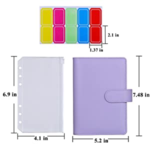 Antner A6 PU Leather Binder Cover with 12PCS A6 Binder Pockets