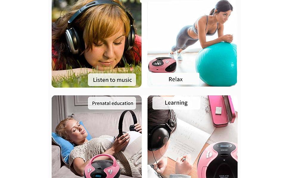 Lauson MX12 Radio FM con Sintonizador Pantalla LCD y Reproductor de CD Portátil con Lector USB para Reproducir Música MP3   CD Player con Salida de Auriculares 3.5mm, Altavoces Incorporados (Rojo): Amazon.es: