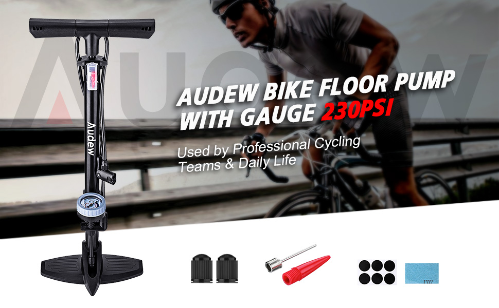 Cycle Mountain Bike Bicycle Foot Floor Pump with Gauge Fits Schrader /& Presta