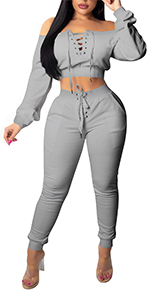 2 Pieces Long Sleeve Off Shoulder Sexy Crop Top Bodycon Jumpsuit Long Pant Skinny Romper grey