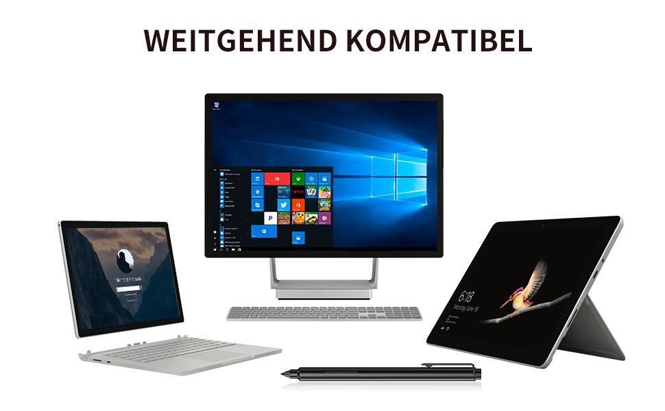 Kingone Surface Pen Microsoft-zertifizierter Surface Pro Bleistiftstift f/ür Surface Go Oberfl/ächenb/ücher Surface Laptop Surface Studio mit 4A-Akku und Sare Spitzen Schwarz