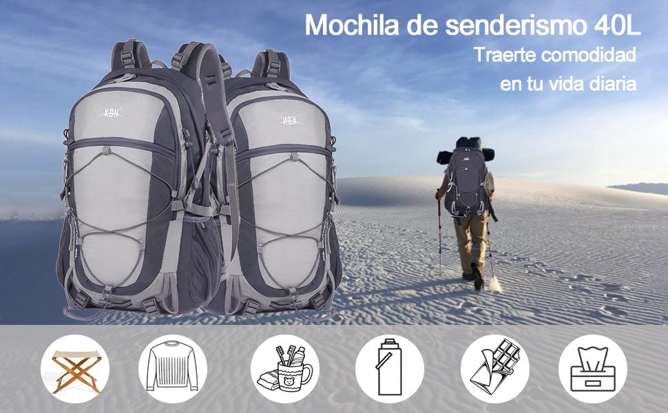 Mooedcoe 40L Mochila Senderismo Montaña Trekking Macutos de Viaje Acampada Marcha