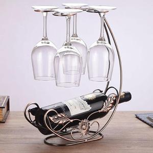 Amazon Com Homeme Vintage Tabletop Wine Rack Stemware Holder Holds 1 Bottle And 4 Glasses Freestanding Countertop Wine Glass Display Rack Bronze Home Kitchen