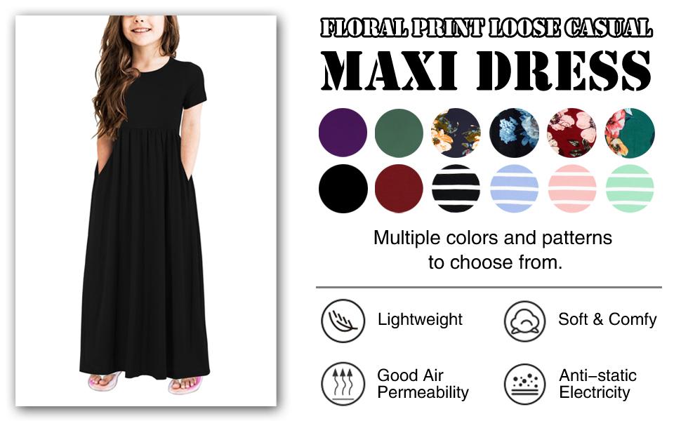 GORLYA Girls Short Sleeve Floral Print Loose Casual Holiday Long Maxi Dress with Pockets 4-13 Years