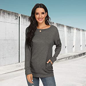 Casual Loose Shirts Long Sleeve Blouses Tunic Tops with Pockets