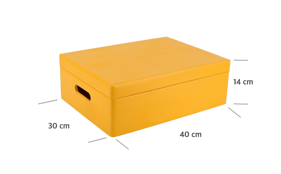 Creative Deco XL Amarilla Grande Caja de Madera para Juguetes   40 ...