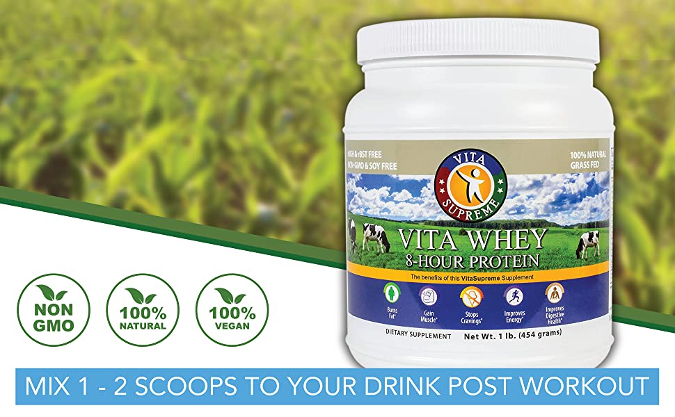 vita supreme whey protein will help curb appetite, tone muscles, rev up metabolism, and boost energy