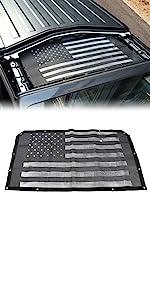 Sunshade Mesh Shade Top Cover Polyester Durable Sun Shade for JL JLU 2 Door Black US Flag
