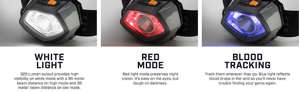 multi mode head light blood tracking hunting night mode night vision headlamp headband light durable