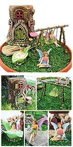 fairy garden set kit indoor outdoor boy girl figurine house fairies gnome