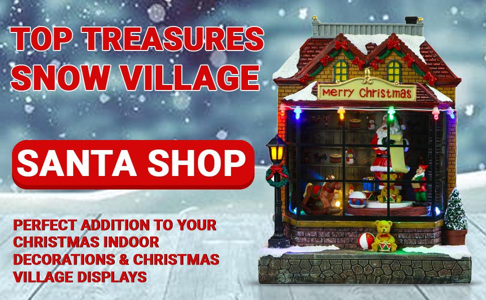 Top Treasures Lighted Resin Christmas Shop Snow VillageVillage Display Decor