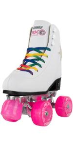 disco roller skates crazy skate rollerskates rainbow classic high white rink LED light up star flash