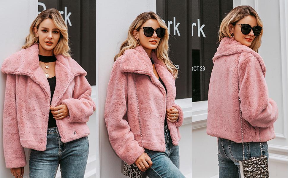 thick faux fur coat