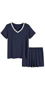 summer sleepwear loungewear short sleeve pajamas set for women