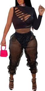 Two Piece Boydocn Mesh Jumpsuit for Women