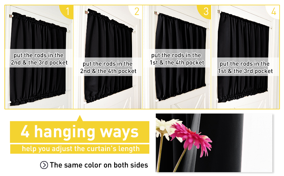 25-in Wide by 40-in Long, Black, 1 Pc NICETOWN French Door Curtain for Window Black Short Functional Sunlight Blocking Sidelight Curtain Panels