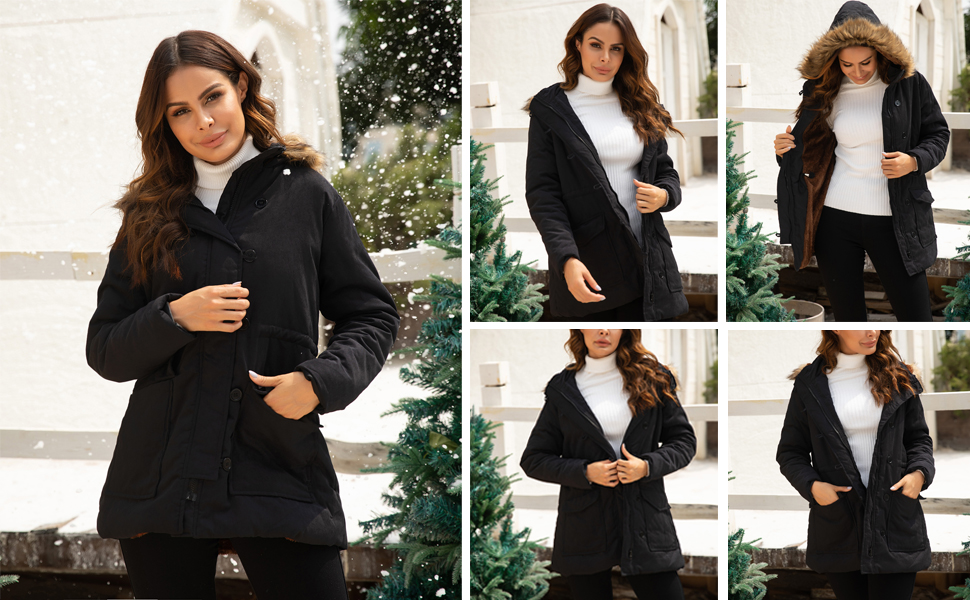 Zeagoo Women's Parka Warm Faux Fur Collar Lightweight Drawstring Hooded Winter Coat
