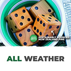 All Weather Sustainably Sourced New Zealand Pine Yard Dice inside of Rolling Bucket