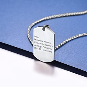 Tag Necklace Pendant Medical Alert ID Jewelry Stainless Steel
