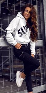 BOLF Damen Rundhalsausschnitt Sweatshirt mit Kapuze Sport