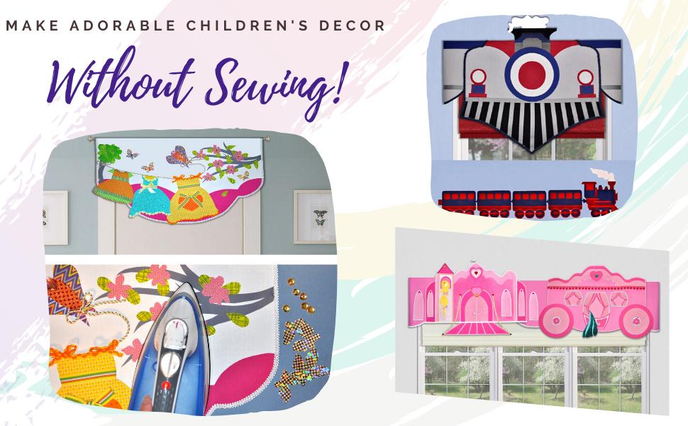 children's valance DIY room decorating kit princess teddy bear boys train airplane sailboat rocket
