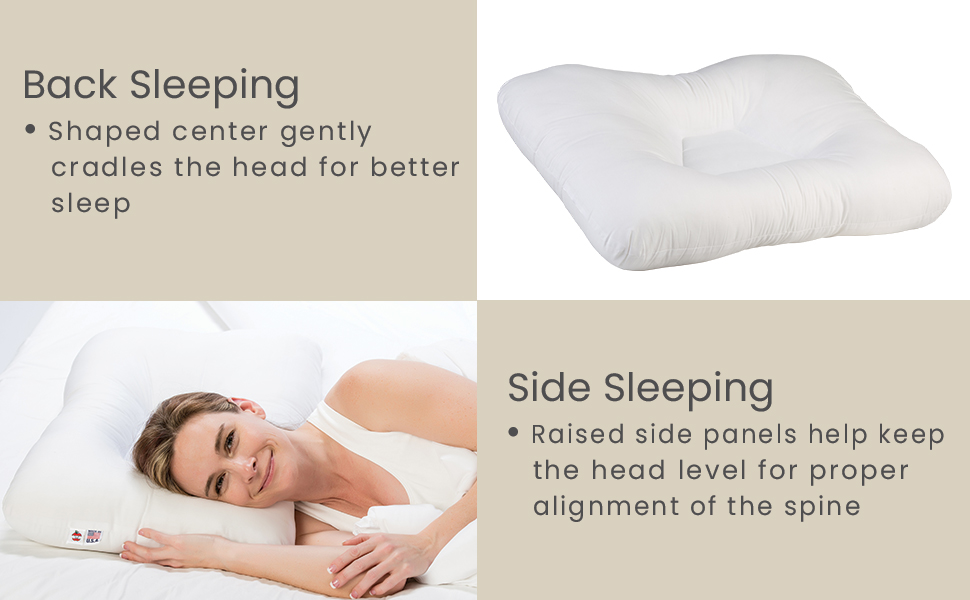 Back sleeping with shaped center, Side sleeping with raised side panels