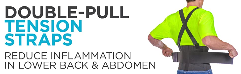 double-pull tension straps reduce inflammation in lower back & abdomen