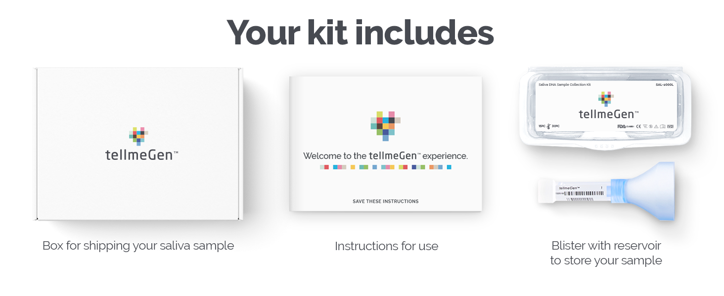 Your kit includes box, instructions for use and reservoir to store your sample.