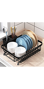 2 Tier 304 Stainless Steel Length Adjustable Large Dish Rack Drainer for Kitchen