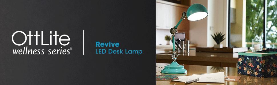 OttLite Wellness Series Revive LED Desk Lamp Reduced Eyestrain Glare Table Light Lighting ClearSun