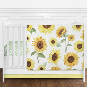 Yellow, Green and White Sunflower Boho Floral Baby Girl Nursery Crib Bedding Set without Bumper