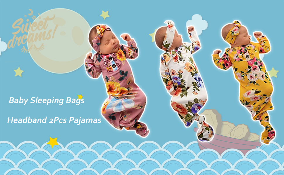 Newborn Baby Girls Nightgowns Floral Sleep Gowns Unisex Romper Sleeping Bags Bow-Knot Headband 2Pcs Pajamas Outfit