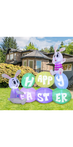 6 ft Long Happy Easter Sign Inflatable