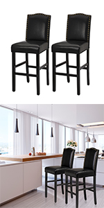 """45""""H Black Count Height Bar Stools Chairs Set of 2 Leather"""