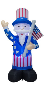 AJY 6 FT Patriotic Independence Day Inflatable Uncle Sam Holding American Flag