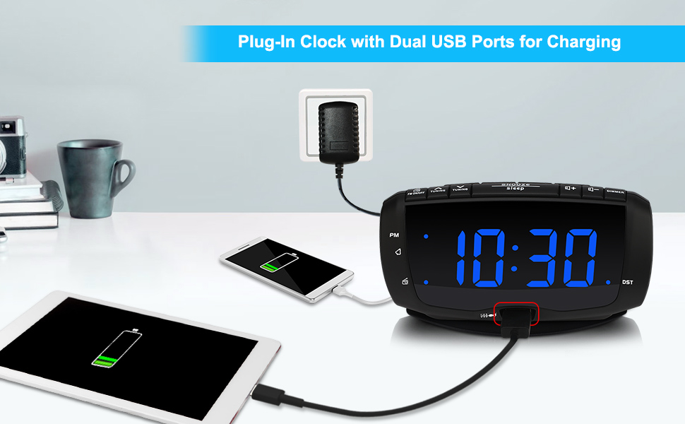electronic alarm clock with double USB