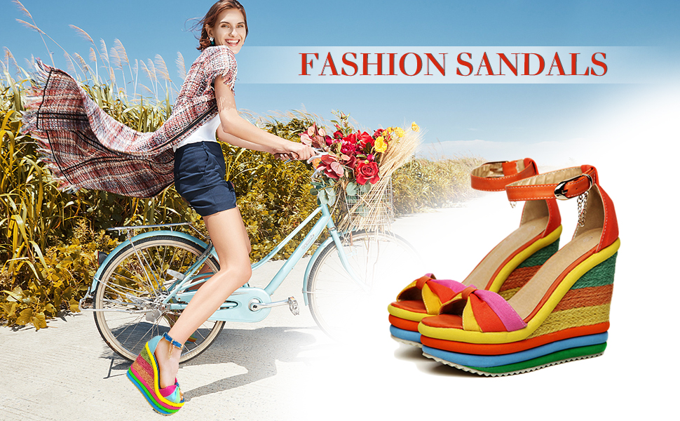 outdoor colourful wedge sandals open toe adjustable ankle buckle heeled sandals