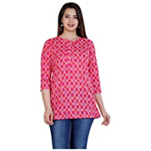 SIDDHANAM Trendy Pure Cotton Printed Pink Casual wear top