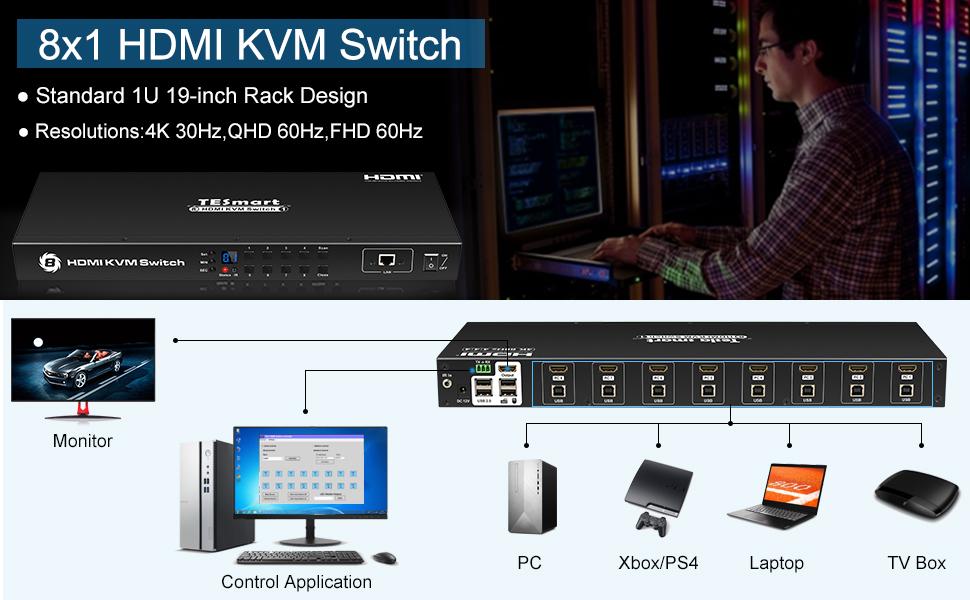 LAN Port Auto Scan IP Control Control Eight PCs, Laptops, Servers w//One Video Monitor, Keyboard, Mouse 4K 30Hz Ultra HD Enterprise grade RS232 TESmart KVM Switch 8 Port HDMI Rackmount