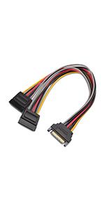 15-pins SATA-voedingskabel Y-splitter