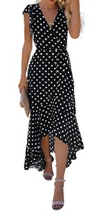 GRECERELLE Women's Summer Floral Print Cross V Neck Dress Bohemian Flowy Long Maxi Dresse