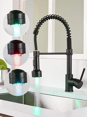 Black LED kitchen faucet