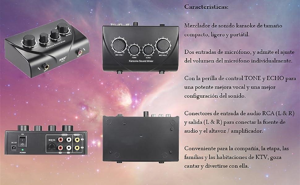 ammoon Sonido Audio Mezclador Estéreo de Eco Portátil Karaoke Entradas de Micrófono Dual con Cable RCA Adaptador de Corriente para TV PC Smartphone Amplificador: Amazon.es: Instrumentos musicales